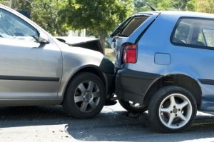 Two crashed cars close up